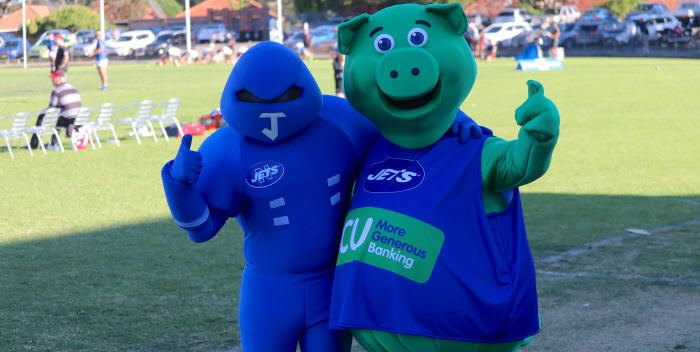 The dynamic duo (Syd the Pig & Jetman) at Henson Park. SCU is offering Newtown Jets members some great deals in 2019. Photo: Wayne Leong