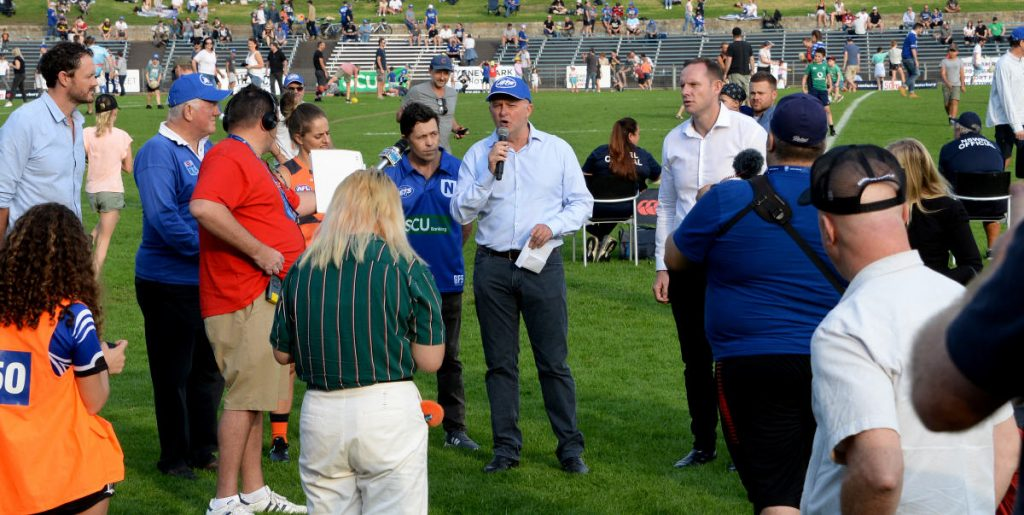 Anthony Albanese addresses the Henson Park faithful with very well received news of a funding commitment to upgrade Henson Park. Photo: Mike Magee