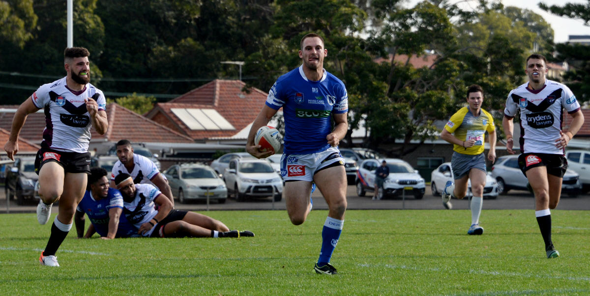 Newtown winger and centre Matt Evans (pictured here at Henson Park last Sunday) has been getting amongst the try-scorers this season, and he is currently the Jets' leading try-scorer for 2019 with 6 tries. Photo: Michael Magee Photography.