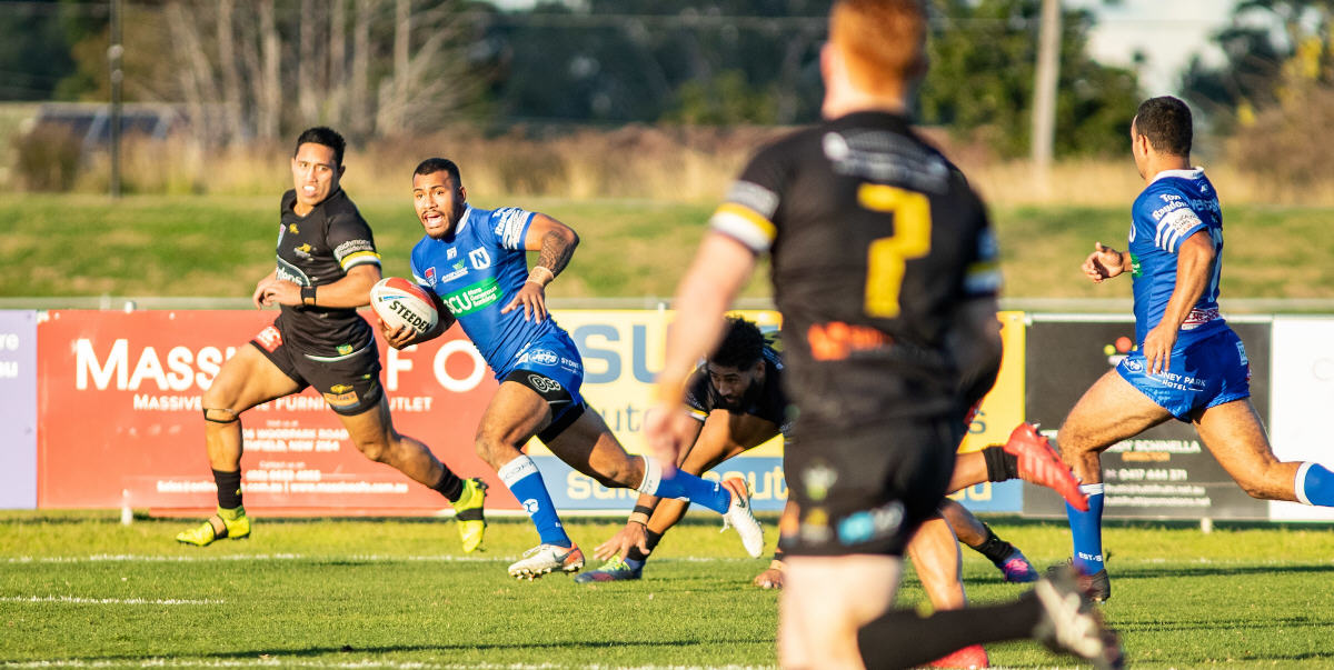 Newtown Jets winger Sione Katoa on his way to a superb try scored early in the second half against Mounties at Aubrey Keech Reserve on Saturday, 15th June 2019. Photo: Mario Facchini, mafphotography