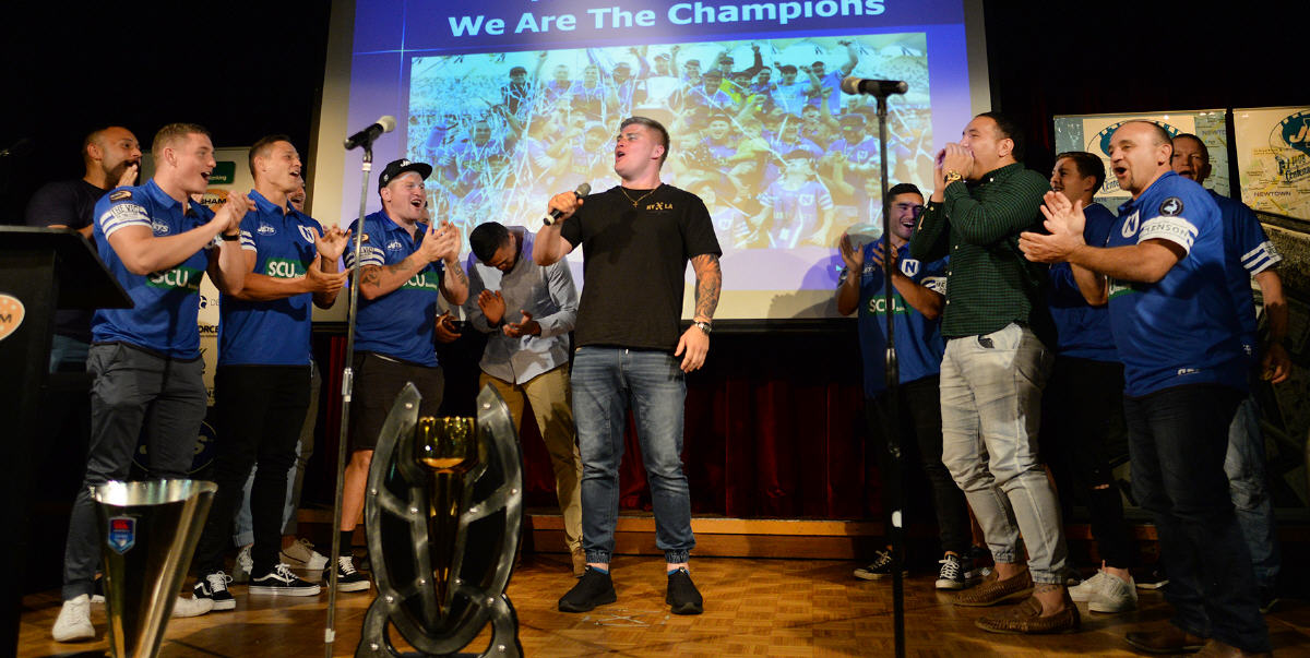 Newtown's rugged back-rower Daniel Vasquez was in full voice when he led his Jets team-mates in a victory chorus at the Mayoral Civic Reception, held at the Petersham RSL Club on the evening of the 9th October 2019. Photo: Michael Magee Photography