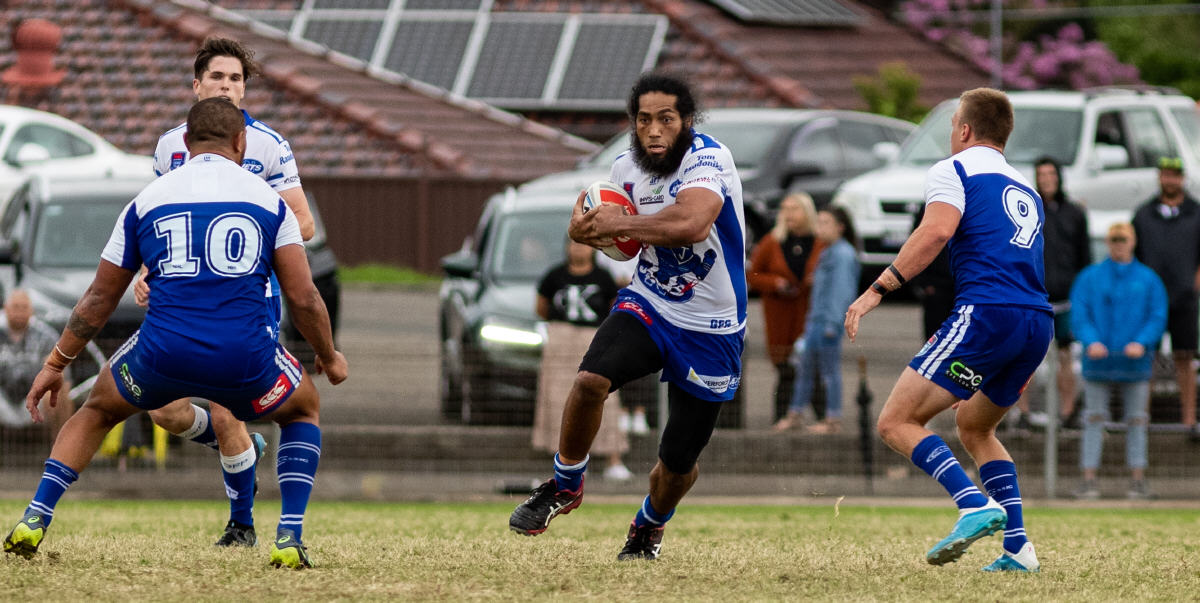 Newtown Jets front-rower Patrick Mafi presents a fearsome prospect for Canterbury-Bankstown defenders at Henson Park last Saturday. Photo: Mario Facchini, mafphotography