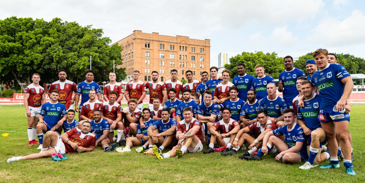 """The Meeting of the two Inner-Western Tribes: The two teams, the Newtown Jets and Glebe Dirty Reds, are photographed together following their historic rugby league """"""""re-acquaintance"""""""" at Wentworth Park on Sunday, 16th February 2020. Photo: Mario Facchini, mafphotography"""