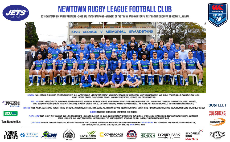 The Newtown Jets 2019 playing squad, winners of the Canterbury Cup NSW premiership title and the NRL State Championship Final, along with staff, Directors, sponsors and supporters are pictured in front of the historic Henson Park grandstand. Photo: Michael Magee Photography.