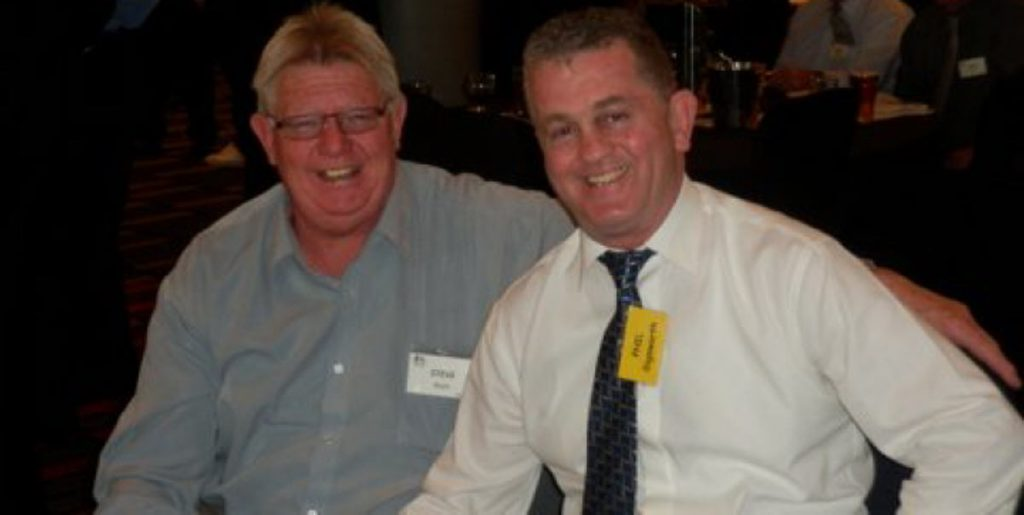 Newtown Jets fullback Phil Sigsworth (on the right) was man of the match in this epic 1981 elimination semi-final. Phil is pictured here at a social function with one of his 1981 Jets team-mates, second-rower Steve Blyth. Photo: Courtesy of Western Suburbs RLFC.