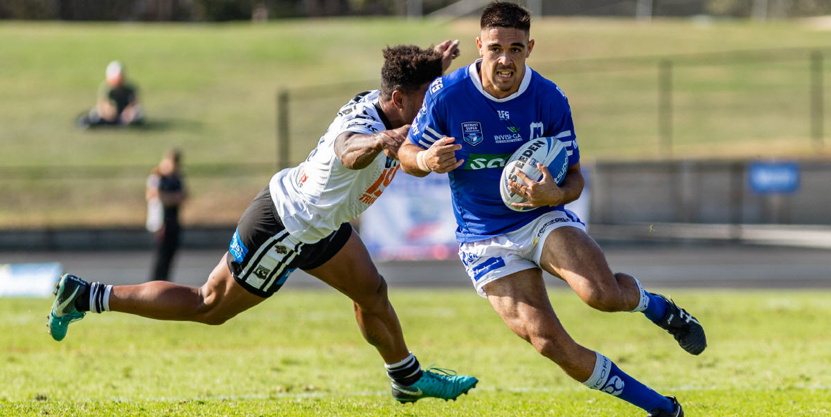 Will Kennedy is currently starring at fullback for the Cronulla Sharks in the 2020 NRL competition. 2018 was Will's first season in senior rugby league, and here he is breaking clear of a Western Suburbs opponent in the Intrust Super Premiership match played at Lidcombe Oval on the 26th May 2018. Photo: Mario Facchini, mafphotography