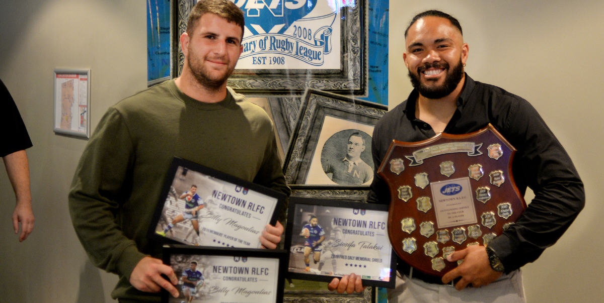 Two of our favourite forwards from that never-to-be-forgotten 2019 season, Billy Magoulias (left) and Siosifa Talakai were among the award recipients at the Newtown Jets 2019 awards evening held at the Petersham RSL Club auditorium. Photo: Michael Magee Photography.