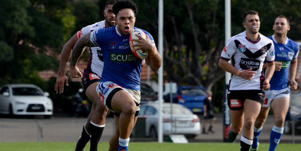 Powerhouse Newtown Jets backrower Siosifa Talakai terrorised the Blacktown Workers Sea Eagles fringe defence in the match played at Henson Park on Sunday, 19th May 2019. Photo: Michael Magee Photography.