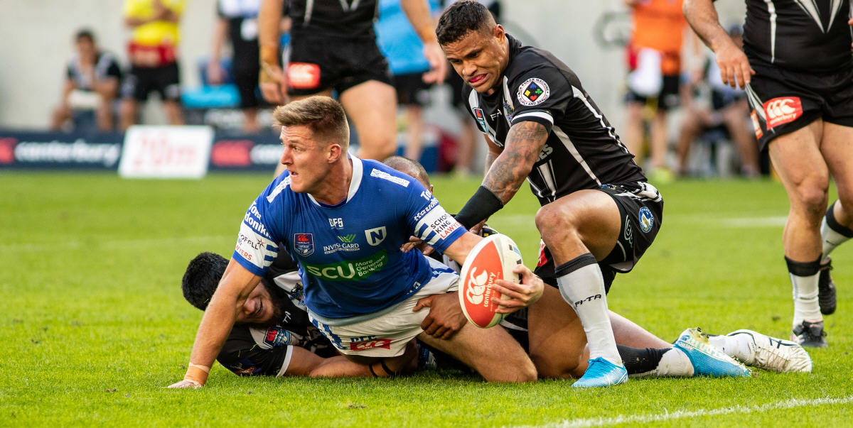 Group 16 and Cronulla Sharks product Teig Wilton (with the ball) played strongly for the Newtown Jets throughout the 2019 Canterbury Cup finals series. Photo: Mario Facchini, mafphotography