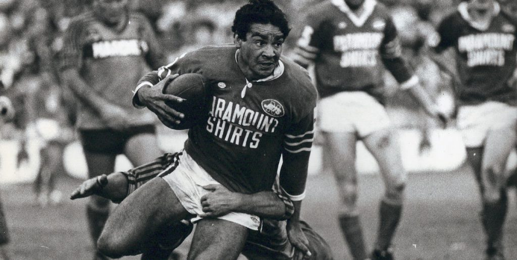The great Ray Blacklock in action for the Newtown Jets at the SCG in 1981. Jim Walters and Phil Gould are the Newtown players in the background. Photo: Terry Williams Collection.
