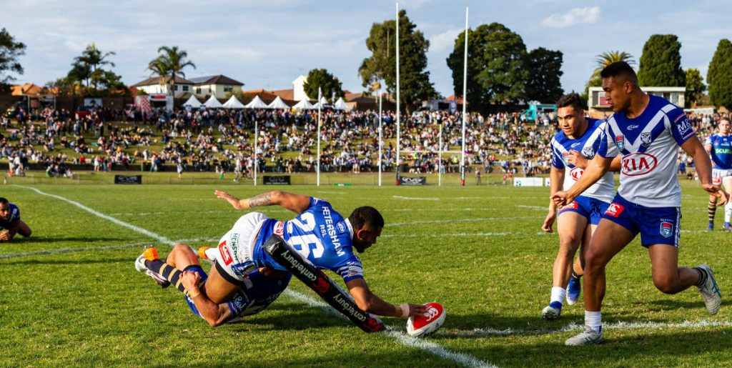 Newtown Jets winger Sione Katoa scores in his characteristically thrilling fashion, this time against Canterbury-Bankstown at Henson Park on the BF&F Festival Day on the 27th July 2019. Photo: Mario Facchini, mafphotography