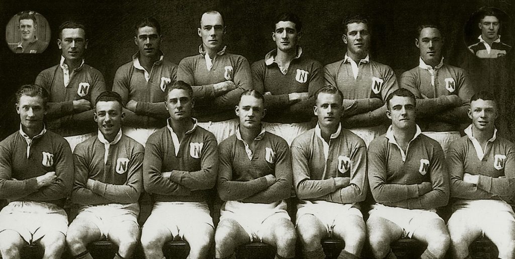 A great many giants of the 13-a-side code have worn Newtown's royal blue colours in our club's 113-year history. Frank Hyde played with Newtown from 1934 to 1937 and was a member of Newtown's City Cup winning team in 1937. He is pictured third in from the right in the back row. (Newtown RLFC collection).