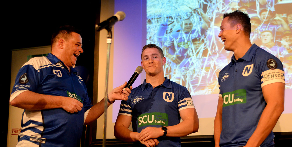 It's smiles all round as Newtown Jets Director Alby Talarico (on the left) interviews Jets players Jack A. Williams and Scott Sorensen at the Mayoral Civic Reception held for the double-title winning Newtown Jets at the Petersham RSL Club on the 9th October 2019. Photo: Michael Magee Photography.