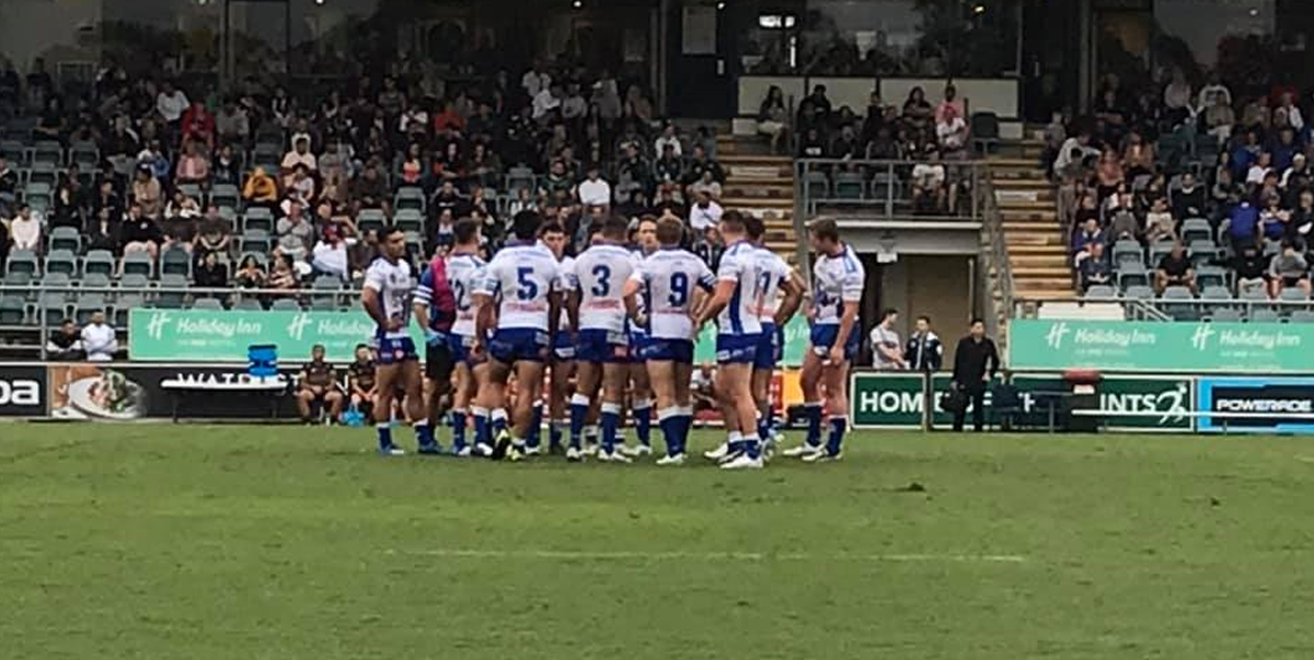 The Newtown Jets in an on-field conference during the trial match against Penrith at the St Marys Leagues Stadium on Saturday, 13th February 2021. Photo: Kim Fuller