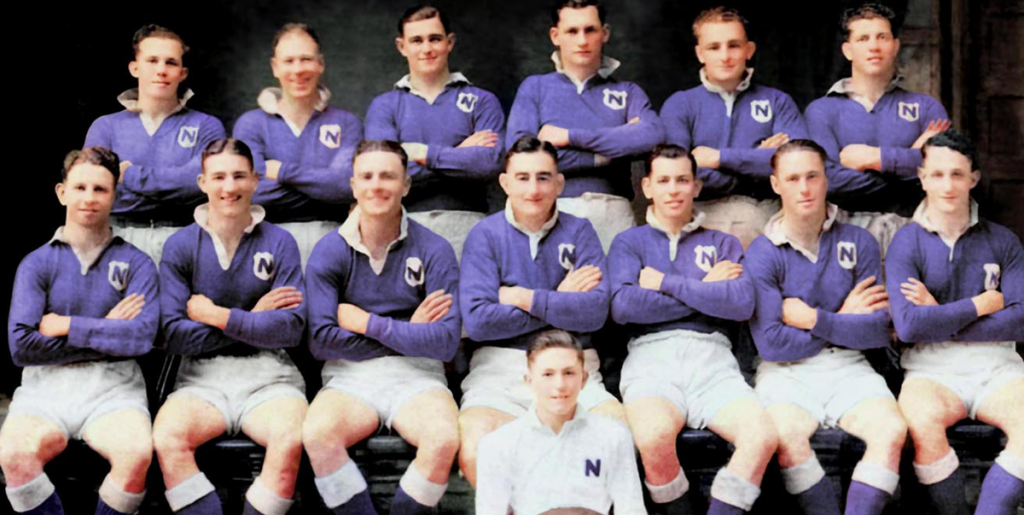 """Most Newtown Jets supporters would have seen the black and white version of this photo of the Newtown RLFC NSWRL first grade premiership-winning team of 1943, captained by the mighty Frank """"Bumper"""" Farrell and coached by Arthur Folwell. This colourised version has been kindly supplied by a Newtown Jets supporter named Coll who has done a number of other interesting colourisations as well."""