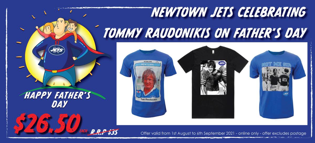 Father's Day 2021 - Tom Raudonikis T-Shirts - rectangular format (Newtown RLFC)