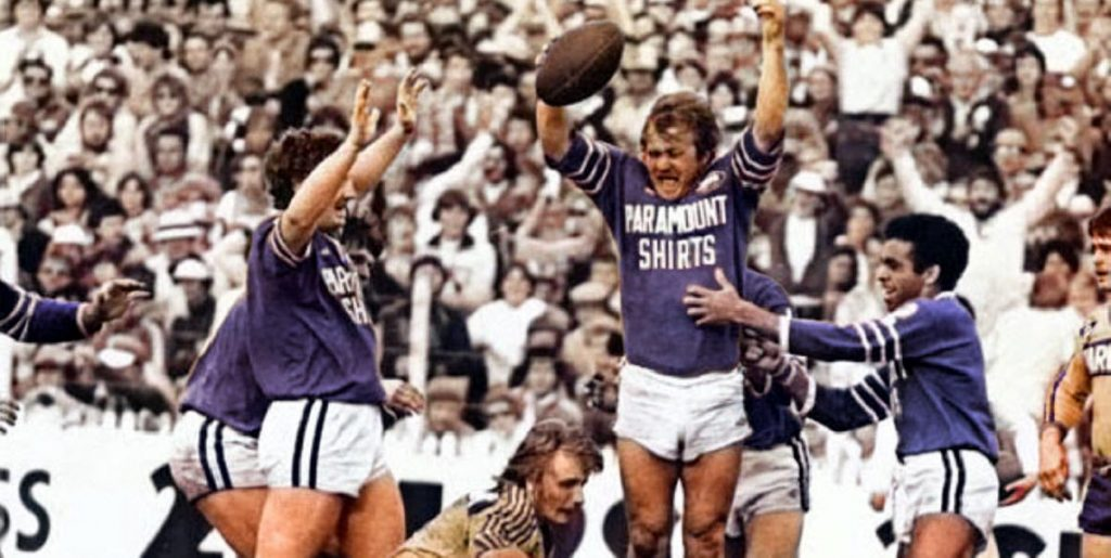 Tom Raudonikis celebrates after scoring a try in the 1981 NSWRL Grand Final (colourised by thefootydog@mail.com)