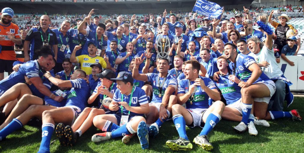Chris Lane's panoramic shot of ANZ Stadium after fulltime on the 6th October captures the unbridled elation of the Newtown Jets after their astounding last-minute victory.